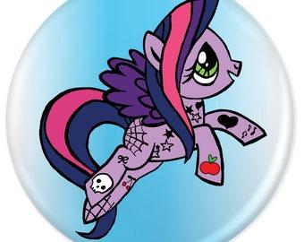 Purple Tattooed Pony Fridge Magnet