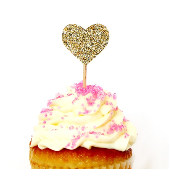 Gold Glitter Heart Cupcake Toppers - Bachelorette Party. First Birthday. Wedding. Bridal Shower. Birthday Party. Engagement Party. Donut.