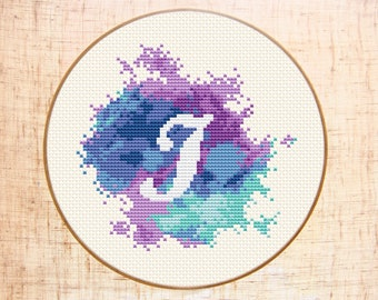 Letter I cross stitch pattern Modern cross stitch Watercolor xstitch Monogram embroidery Initial J Counted cross stitch PDF Instant download