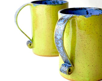 Extra Large Mugs - Neon Green and Blue eclectic coffee cups (set of 2)