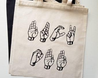 Handmade Sign Language FUCK OFF Tote Bag - Fuck Off Tote Bag - Custom Tote Bag