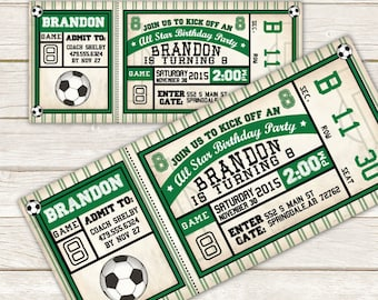 Soccer Invitation - Soccer Birthday Invitation - Soccer ticket invitation -  DIY Printable or Printed Invitation