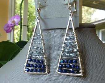 Blue Ombre Beaded Earrings