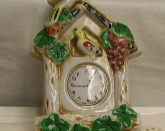 """Vintage Coo Coo Clock Wall Pocket Mid Century Clock Planter Made in Japan Vintage Kitchen Wall Decor 8"""" Tall Hand Painted"""