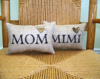 Mom pillow, Mimi pillow, Mother's day gift, custom name pillow, mini pillow, love pillow, stenciled pillow, FREE SHIPPING!