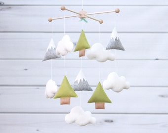 Baby Mobile Trees and Mountains Mobile Cloud Baby Mobile Nature Mountains Nursery