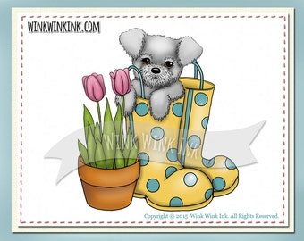 Digital Stamp - Pup in Boots - puppy in boot with tulips digi