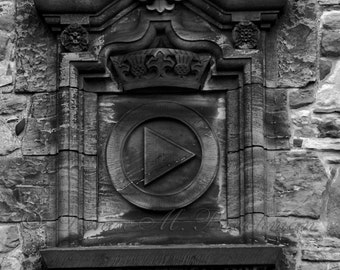 Rustic Scottish Architectural Photos - Black and White  Edinburgh Scotland - Rustic Scotland Art Prints - Black White Scottish Architecture