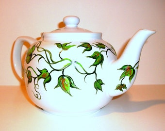 Ivy Leaf Leaves Hand Painted Tea Pot Made to order 6 cup Teapot For Mother Christmas Gift Green Leaves
