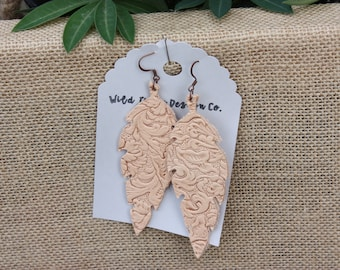 Natural Tooled Leather Earrings Leaf or Feather shape