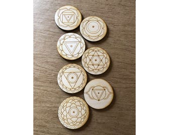 Seven Chakras Crystal Grid Set - 3, 6, 9 or 12 Inches - Wooden Crystal Grid - Energy Healing - Chakra Set - Chakra Crystal Grids