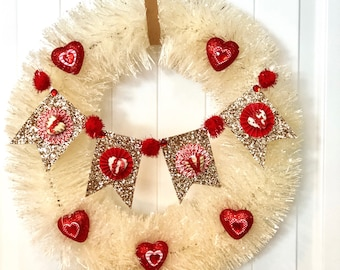 Valentines Wreath-Valentine's decor-front door wreath-Bottle brush wreath-heart valentine wreath
