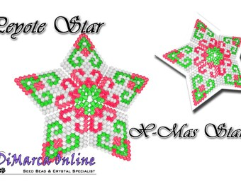Beading Pattern/Tutorial Christmas Star 3D PEYOTE STAR + Basic Instructions