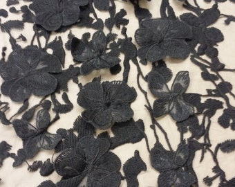 Black Lace fabric with 3D flowers, French Lace, Chantilly Lace, Bridal lace, Wedding Lace, Scalloped Floral lace, Lingerie Lace N20202