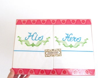 vintage his and hers embroidered pillowcases, new old stock