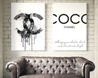 Coco Chanel Prints. Coco Chanel logo, Coco Chanel Quotes. Fashion Wall Art, Chanel sign. Watercolor print. Coco Chanel Decor. Fashion Prints