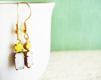 Small Glass Dangle Earrings in Crystal and Yellow, Little Glass Gemstone Earrings