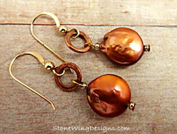 Rustic Boho Copper Coin Pearl and Copper Ring Earrings