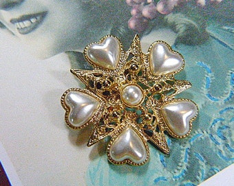 Vintage Gold and Pearl Heart Brooch - BR-562 - Rhinestone Brooch - Pearl Brooch - Pearl Hearts