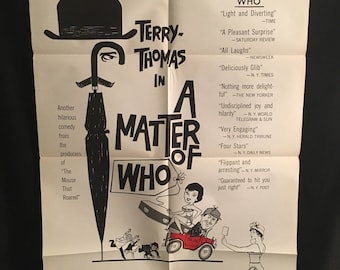 Original 1961 A Matter Of Who One Sheet Movie Poster, Terry Thomas, Sonja Ziemann, Comedy