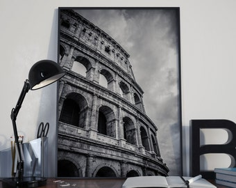 Rome Photography, Travel Photography, Roman Colosseum Photography, Roman Architecture, Italy Photography, Rome Black and White, Rome Gift