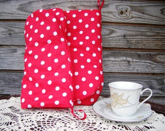 Oven Mitt Set, Oven Gloves, Handmade, Polka Dot Oven Gloves, Cotton Kitchen Decor, Hot Pads
