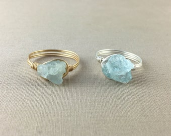 Raw Aquamarine Ring // Wire wrapped aquamarine ring, blue gemstone ring, crystal ring, jewelry under 25, bohemian jewelry