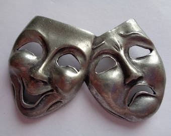Vintage Signed Seagull Silvertone Theatrical Mask  Brooch/Pin
