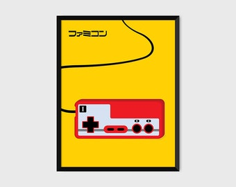 Japanese Famicom Gaming Controller Print Pop Art Illustration Poster [yellow]