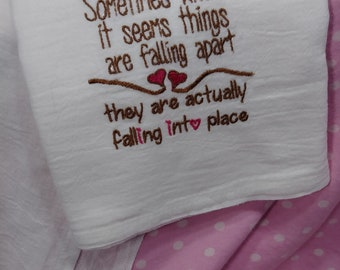 Falling into Place - Machine Embroidered 100% Cotton Kitchen Towel - Flour Sack Towel