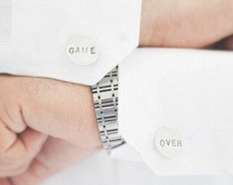 Game Over Cufflinks - handstamped, engraved wedding accessories, silver, round cuff links