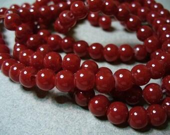 Jade Glass Beads Ruby Round 6MM