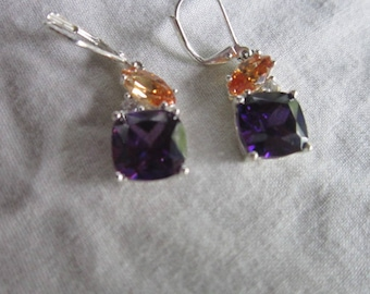 Vintage Like New Silver & Gorgeous Stones Dangle Earrings Must See