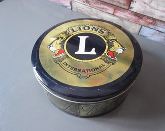 lion international club, Vintage French Tole, box has cookies. French. box has sewing
