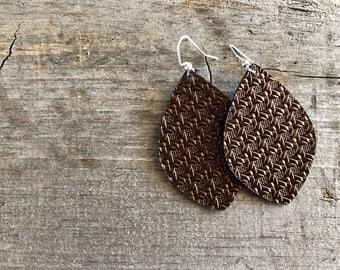 Bronze Weave Leather earrings