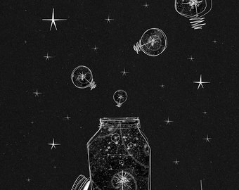 Black and white drawing of fireflies under the stars at night
