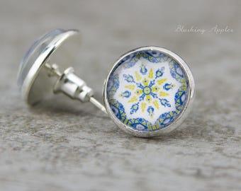 """Oriental tile pattern-stud earrings, 12 mm """"Azulejo"""" Oriental tiles"""