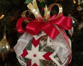 "Quilted Fabric Christmas Ball - Folk Art - Fabric Ball - Christmas Ball - Holiday Decoration - 5"" Diameter - Christmas Decor - Handmade"