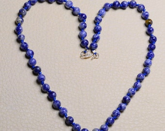"Natural Sodalite sterling silver  18"" necklace ( #J1077)"