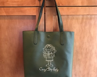 Crazy Dog Lady Lined Embroidered Tote Bag, Purse, Machine Embroidered