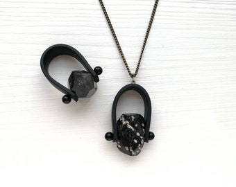 Handmade ring and necklace with obsidian stone