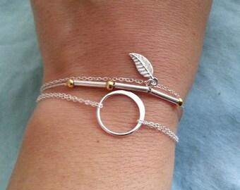 Silver Leaf Bracelet. Sterling Silver Bracelet. Sterling Silver Leaf, Thin Bracelet, Delicate Dainty