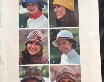 HATS to Sew 3 styles - Butterick  #3319 Vintage  Pattern - One Size