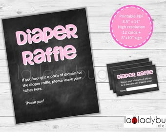 Diaper raffle cards. Pink Printable Diaper Raffle cards (girls). PDF and JPEG files, Instant download.
