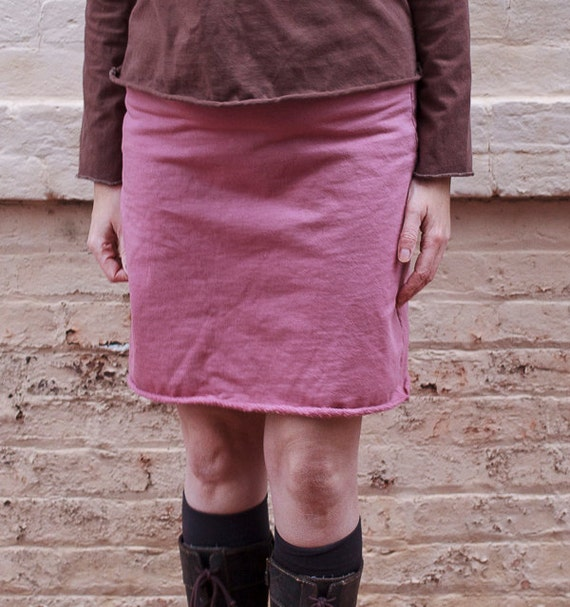 Organic Cotton Fleece Above the Knee Skirt, Winter Skirt, Eco Friendly Skirt
