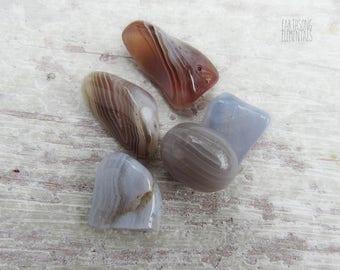 5 piece lot of medium tumbled / polished Blue Lace & Botswana agate gemstones crystals, healing, transformation, manifestation
