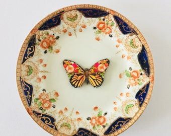 Butterfly White Display Plate 3D Sculpture with Orange Green Gold Navy Floral Design for Wall Decor Birthday Wedding Anniversary Friend Gift