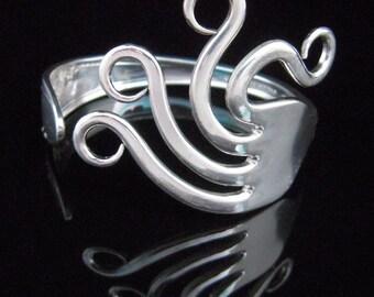Silverware Jewelry, Eco Friendly Fork Bracelet in Wavy Design Number Two