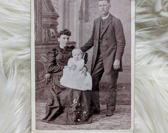 Victorian ghost baby in all white gown cabinet card mother in all black