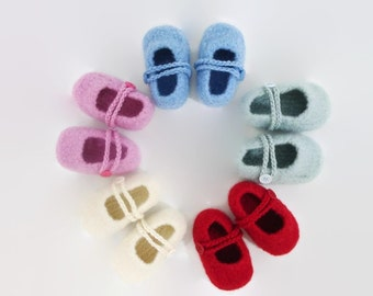 Newborn felted wool slippers